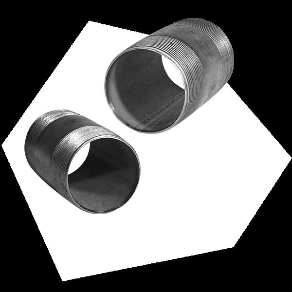 Gewindefittings, spezifischer Doppelnippel zum Schrauben an Rohre.